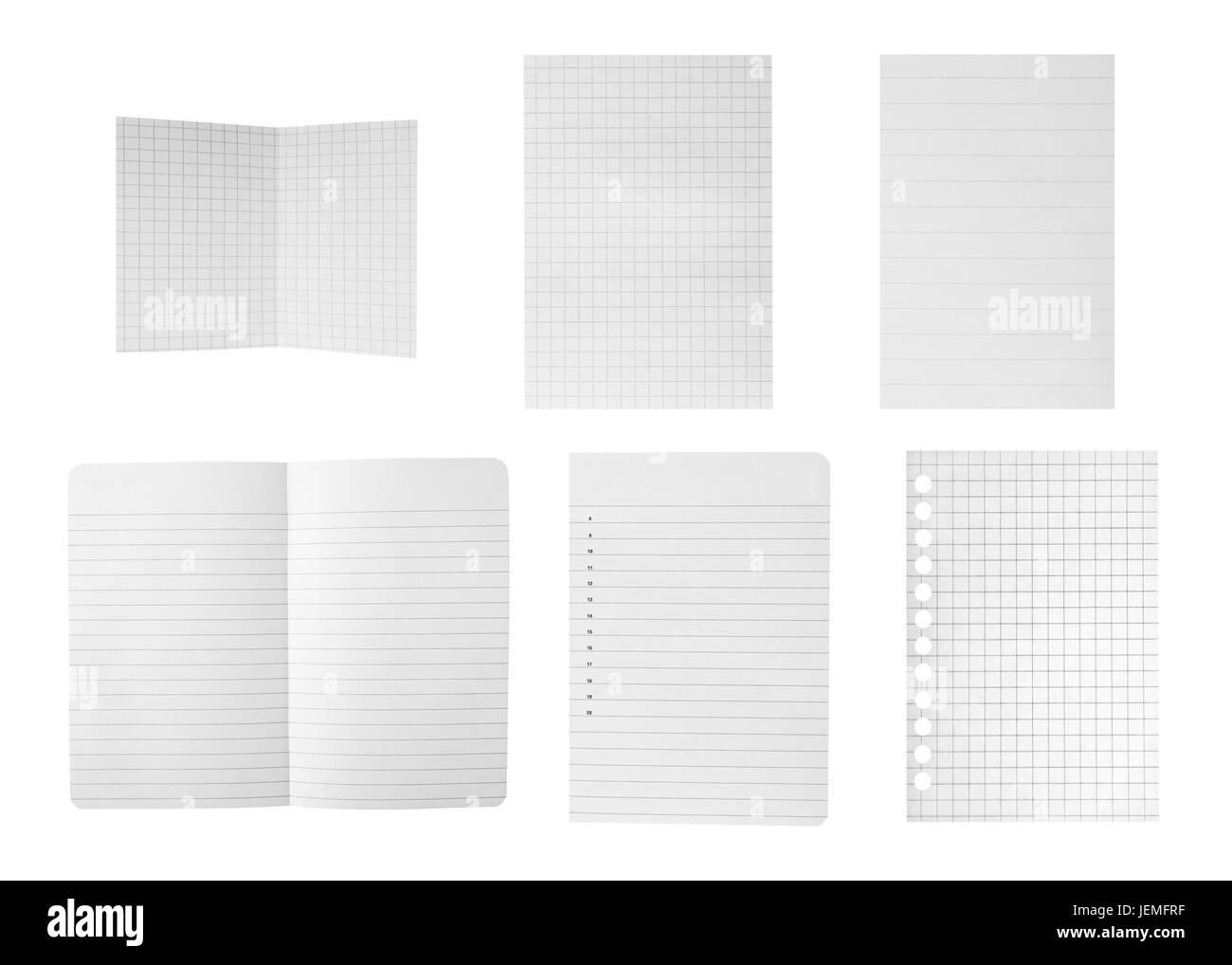 Paper sheets collection isolated on white - Stock Image