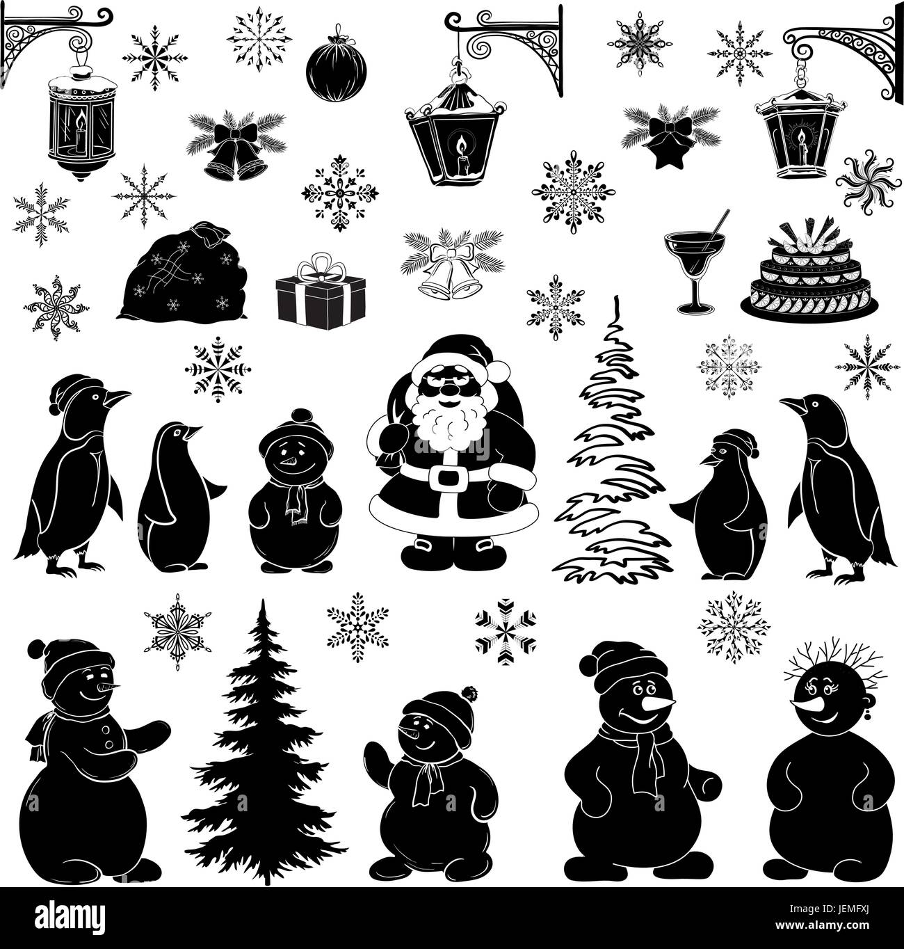 Christmas Silhouette.Set Of Christmas Silhouettes Stock Photos Set Of Christmas