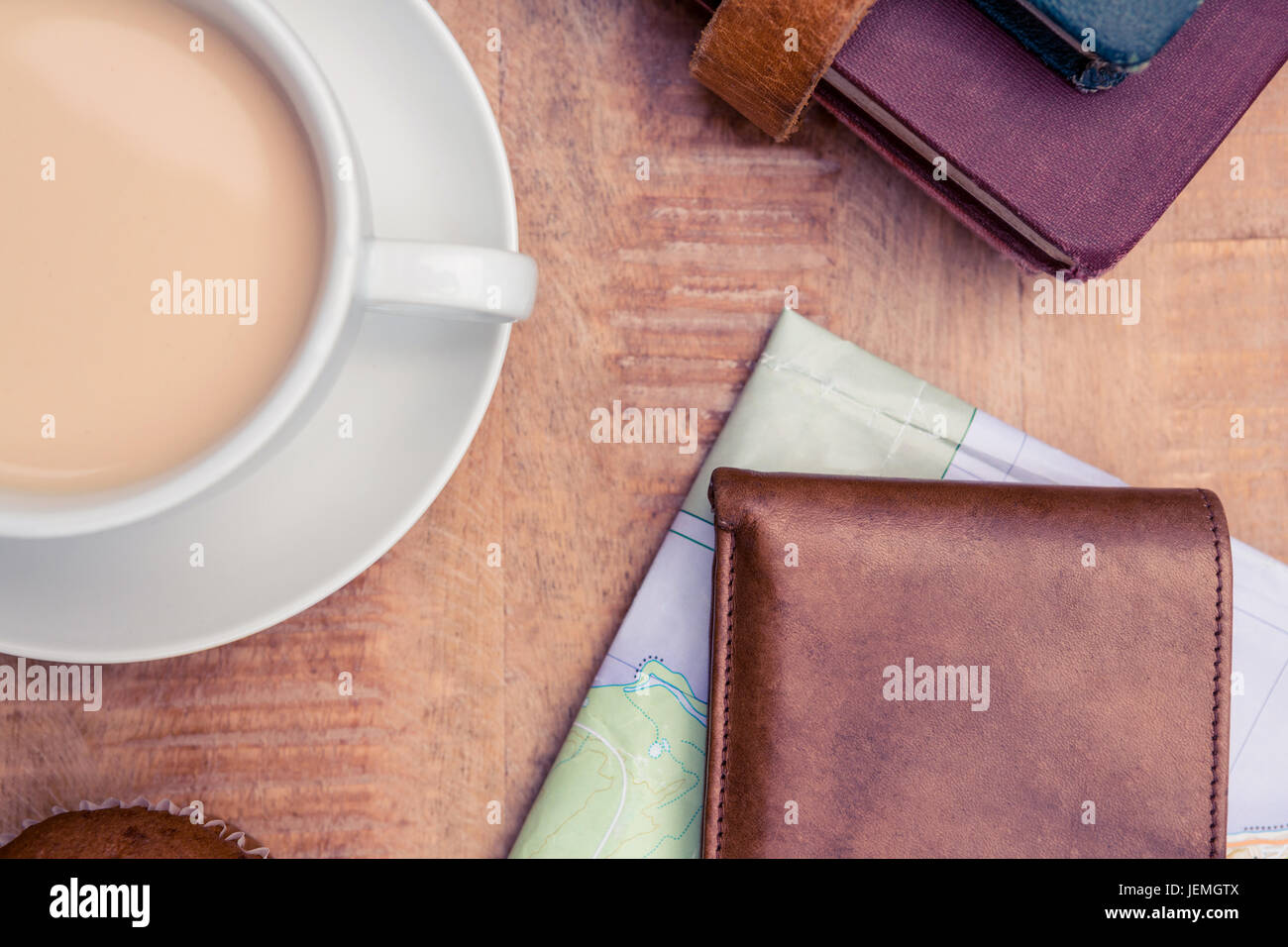 Coffee with wallet and diaries - Stock Image