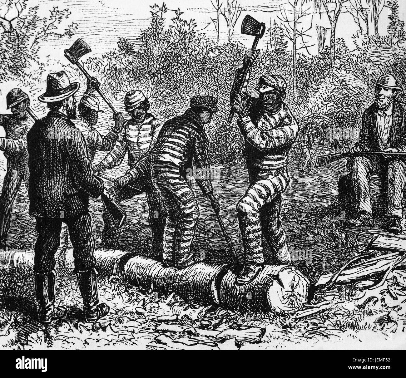 1879: Convicts from Richmond Penitentiary working in the forests, Virginia, United States of America - Stock Image