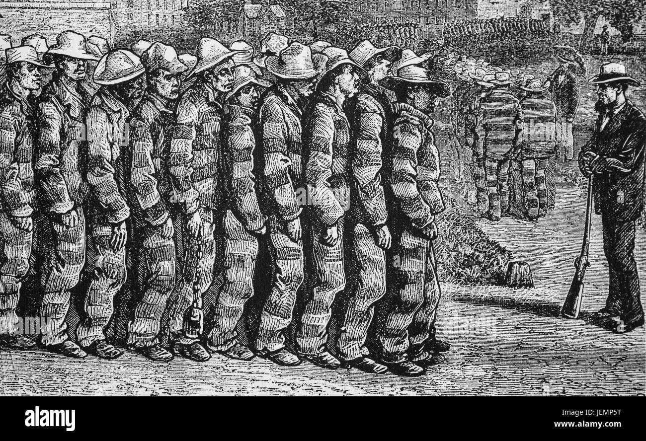 1879: A line of convicts in Richmond Penitentiary, Virginia, United States of America - Stock Image