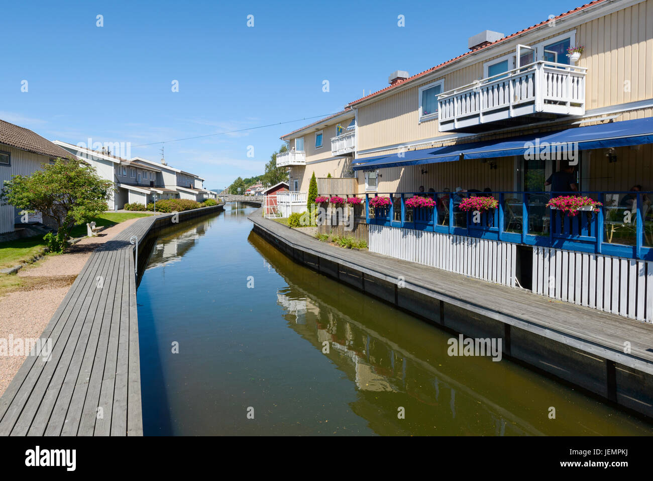 Houses at a channel Stock Photo