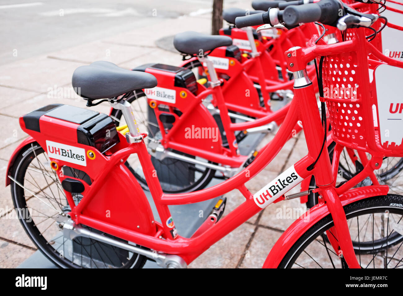 Bikes for rent in downtown Cleveland, Ohio are becoming an increasingly popular mode of transport in the city. - Stock Image