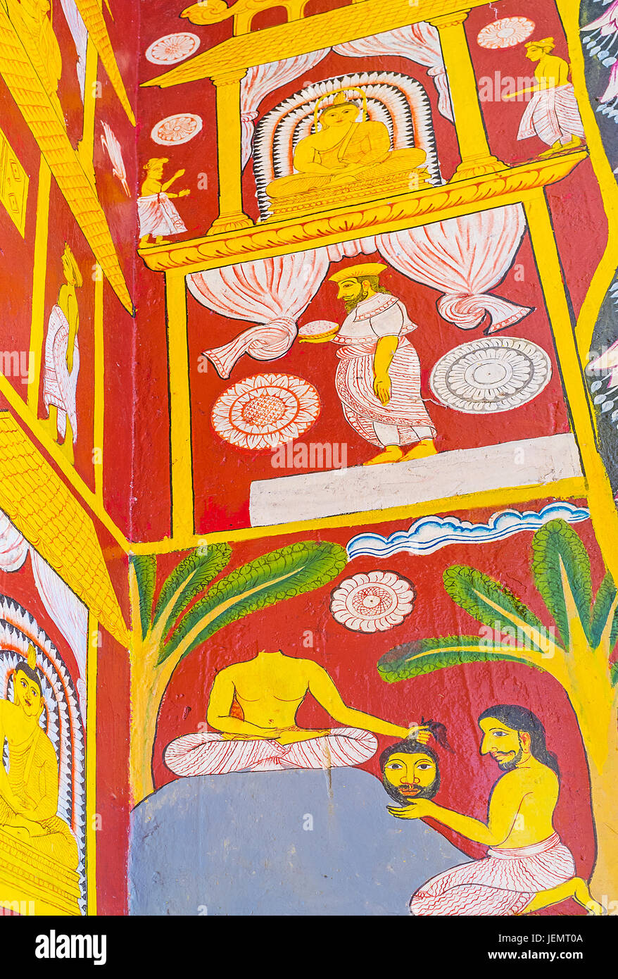 PAMUNUWA, SRI LANKA - NOVEMBER 29, 2016: The pictures on wall of Pamunuwa Buddhist Temple made in naive style, on - Stock Image