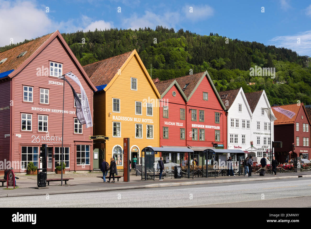 Historic Hanseatic buildings on wharf by Vagen harbour. Bryggen (Tyskebryggen), Bergen, Hordaland, Norway, Scandinavia - Stock Image