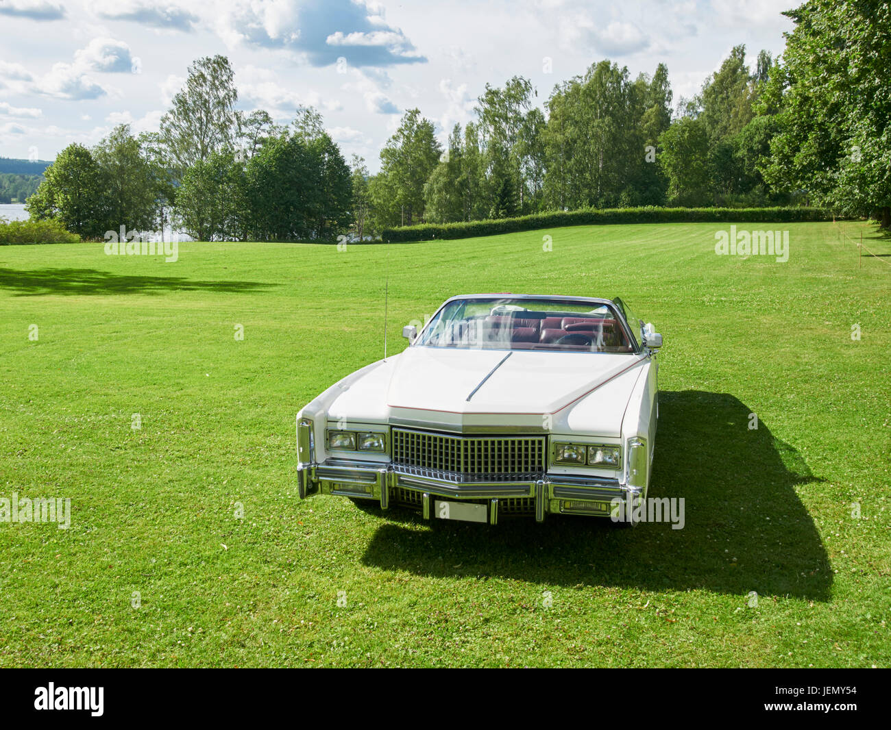 Vintage car on lawn - Stock Image