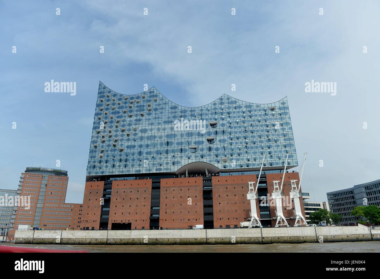 The Elbe Philharmonic Hall, Germany, city of Hamburg, 22. June 2017.The outside is made of 1096 pieces of glas. - Stock Image