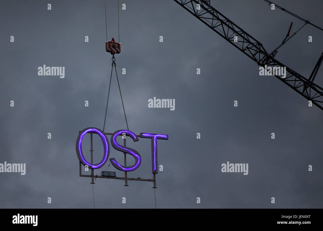 Large letters spelling the word 'OST' (meaning 'east' in German) are removed from the roof of the - Stock Image