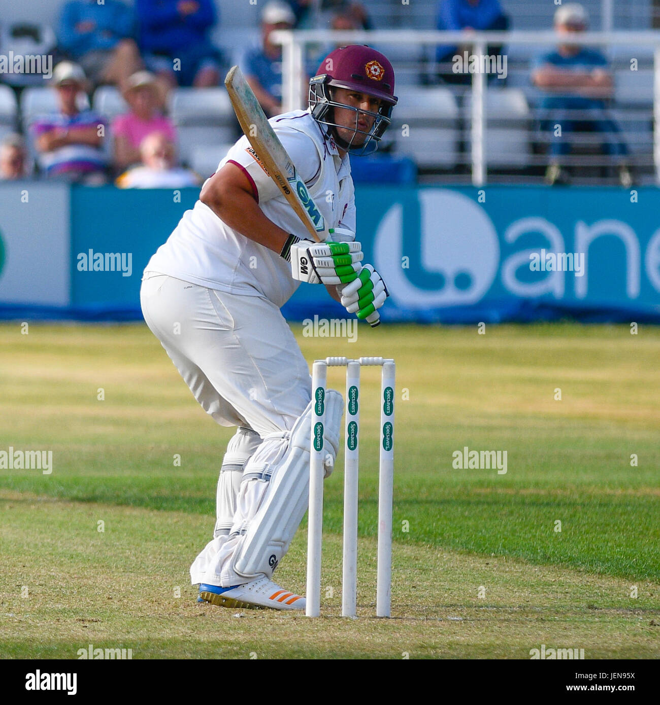 Northampton, UK. 26th June, 2017. Roy  Kleinveldt  bats for Northamptonshire    during the Specsavers County Championship Stock Photo