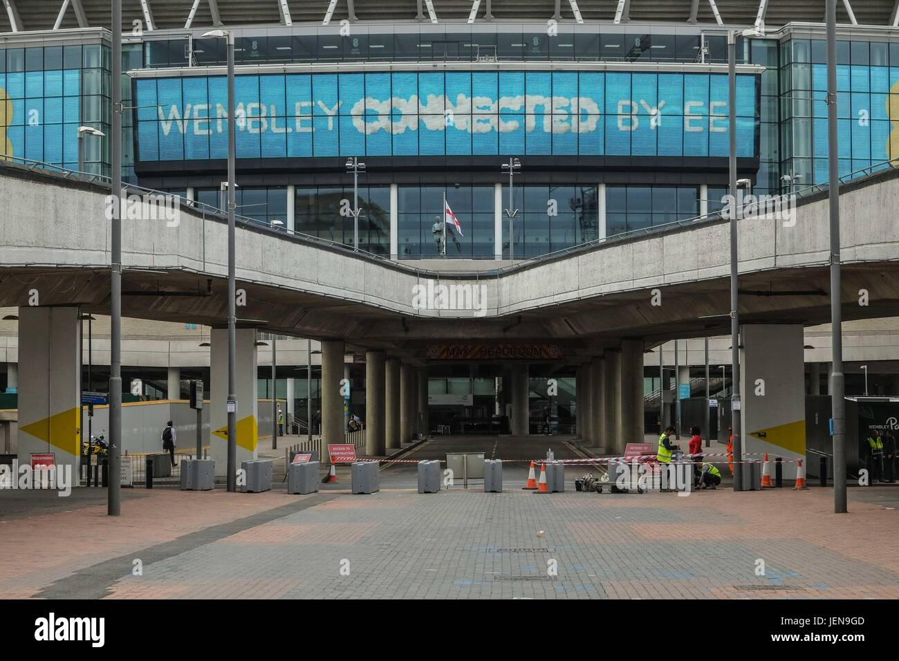 London, UK. 27th June 2017. Security barriers  installed at Wembley Stadium after recent terror attack in the U.K Stock Photo