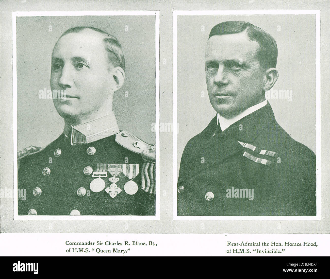 Battle of Jutland Royal Navy casualties Commander Charles Blane Of HMS Queen Mary, & Rear Admiral Horace Hood - Stock Image