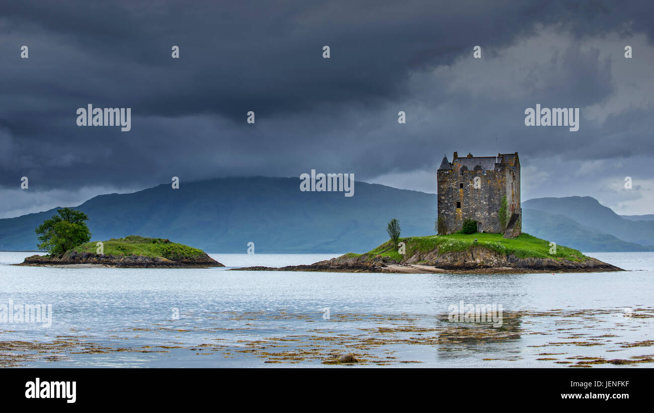 Castle Stalker, medieval four-story tower house / keep in Loch Laich, inlet off Loch Linnhe near Port Appin, Argyll, - Stock Image