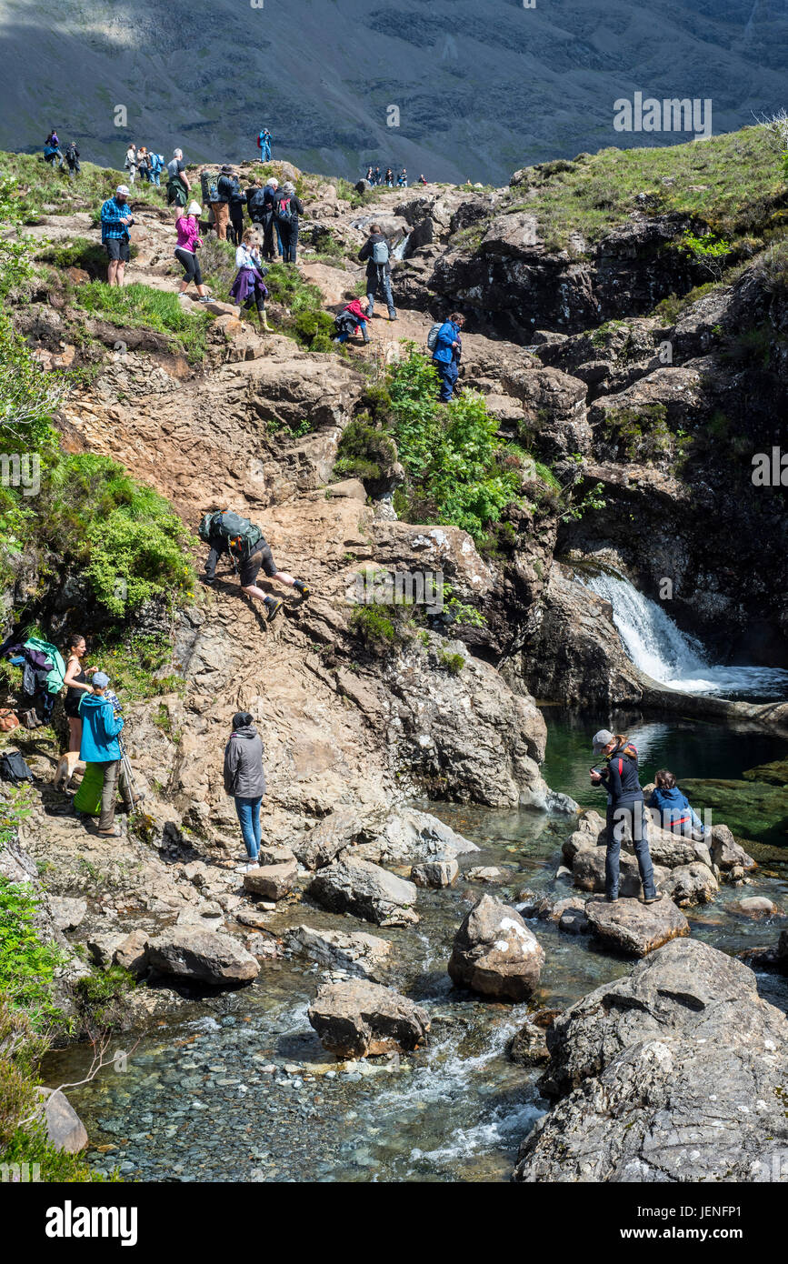 Large group of tourists visiting the Fairy Pools, succession of waterfalls in Glen Brittle on the Isle of Skye, - Stock Image