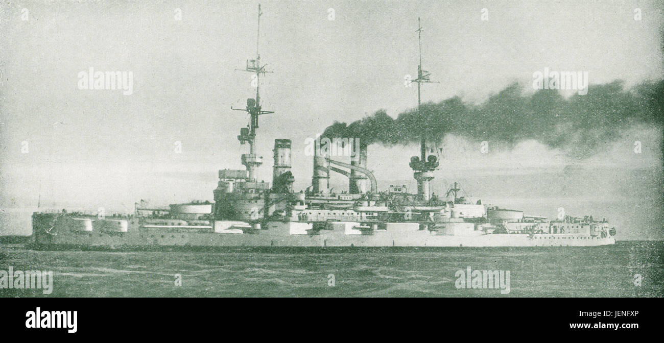 SMS Pommern sunk Battle Of Jutland 1 June 1916 - Stock Image