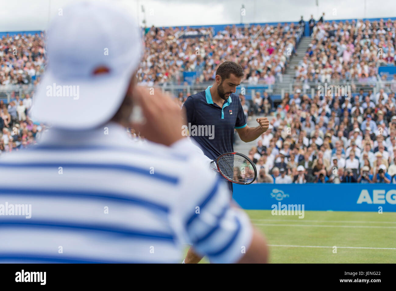 25th June 2017. Mens singles finals match at the 2017 Aegon Championships, The Queen's Club, London Stock Photo