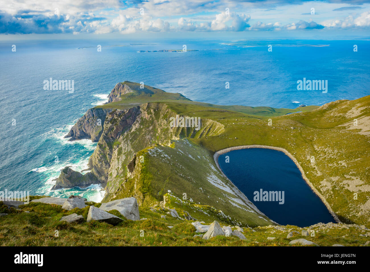 A lake in a hill on Achill island, Co. Mayo. - Stock Image