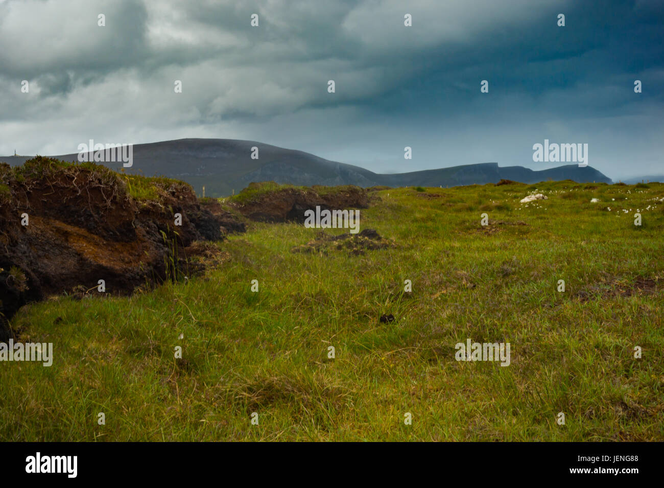 View of mountains from bog land on Achill island, Co. Mayo. - Stock Image