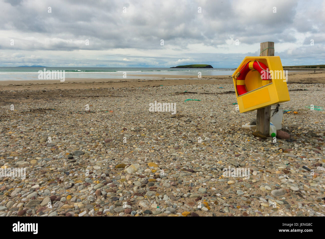 A life ring at keel beach, Achill, Co. Mayo. - Stock Image