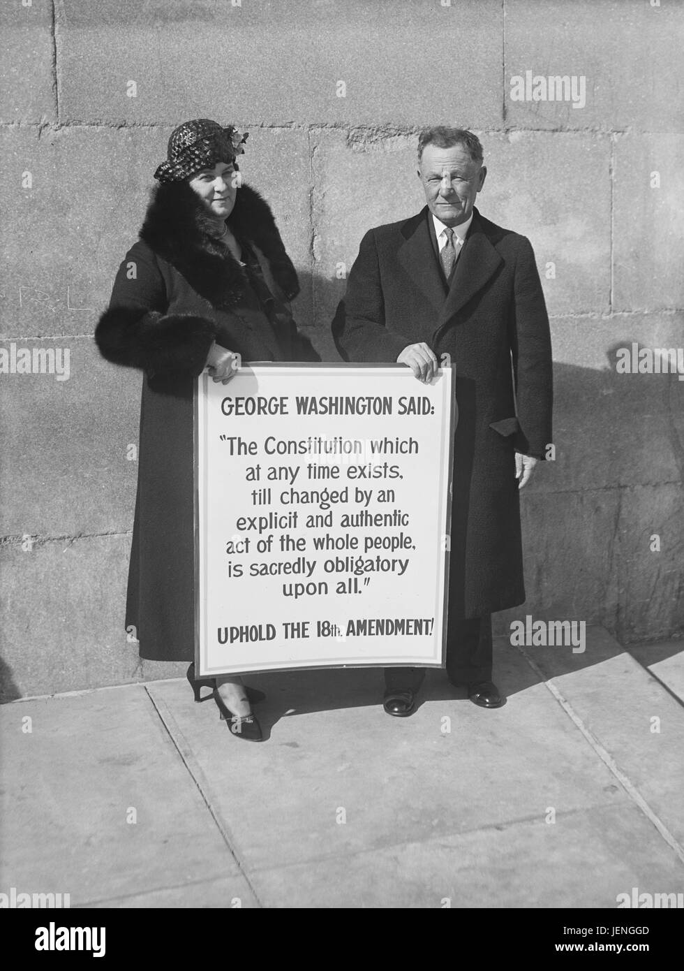 Man and Woman Standing with Sign Supporting U.S. Constitution's 18th Amendment, Washington DC, USA, Harris & - Stock Image
