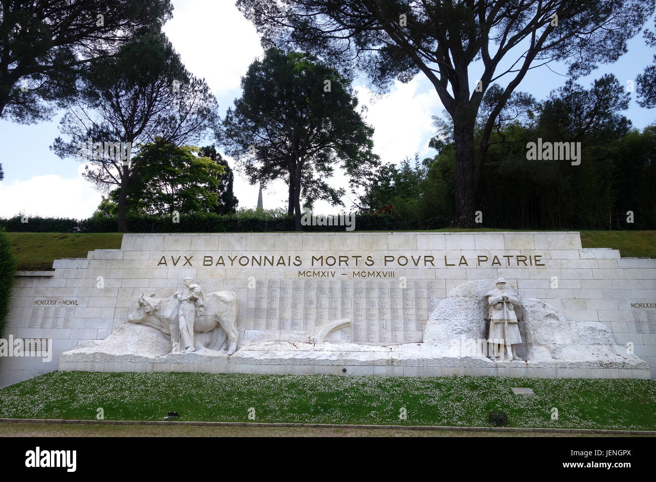 War memorial at Bayonne in France - Stock Image