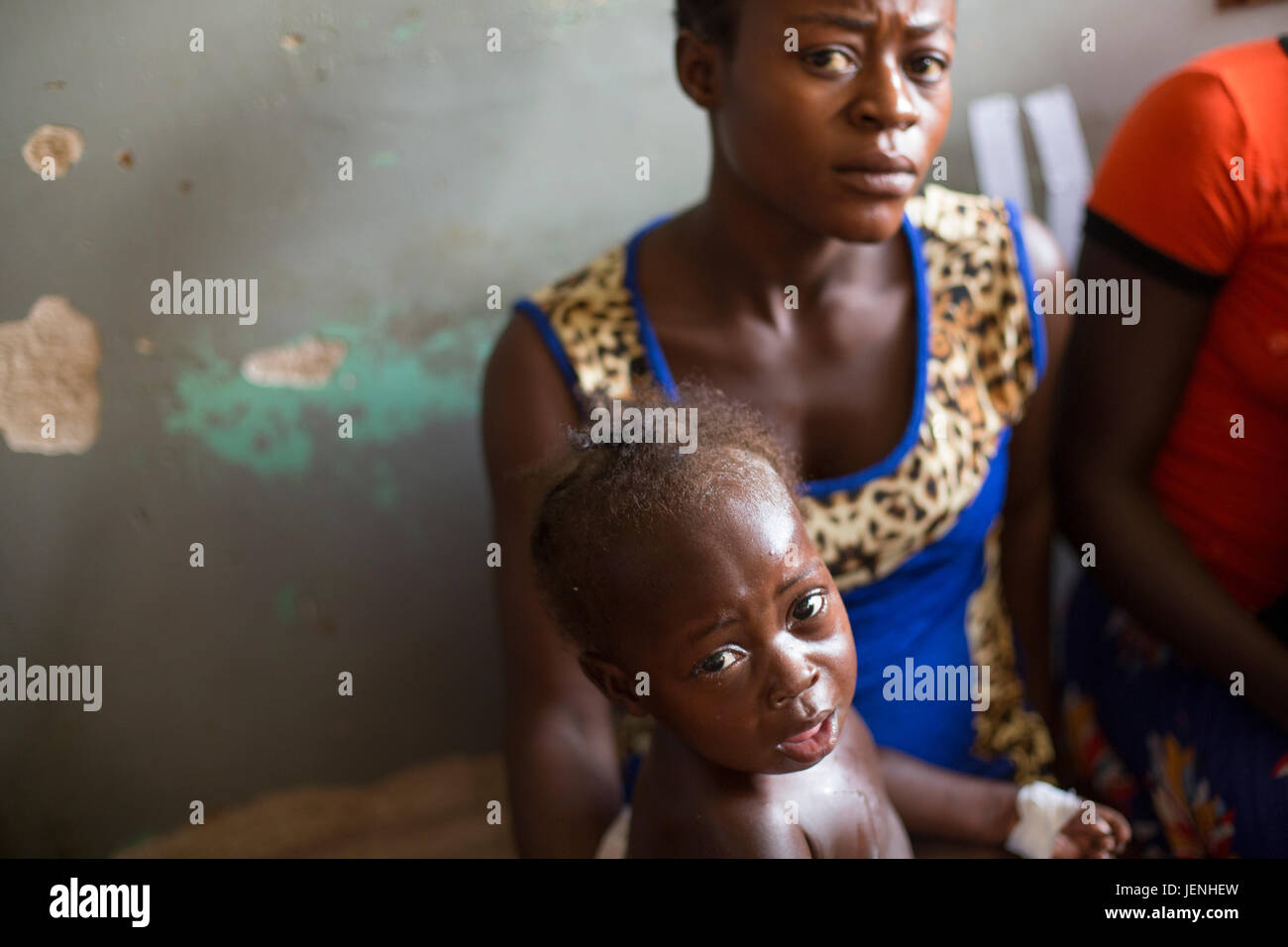 Patients wait to be seen at an underserved hospital in Bundibugyo, Uganda. Stock Photo