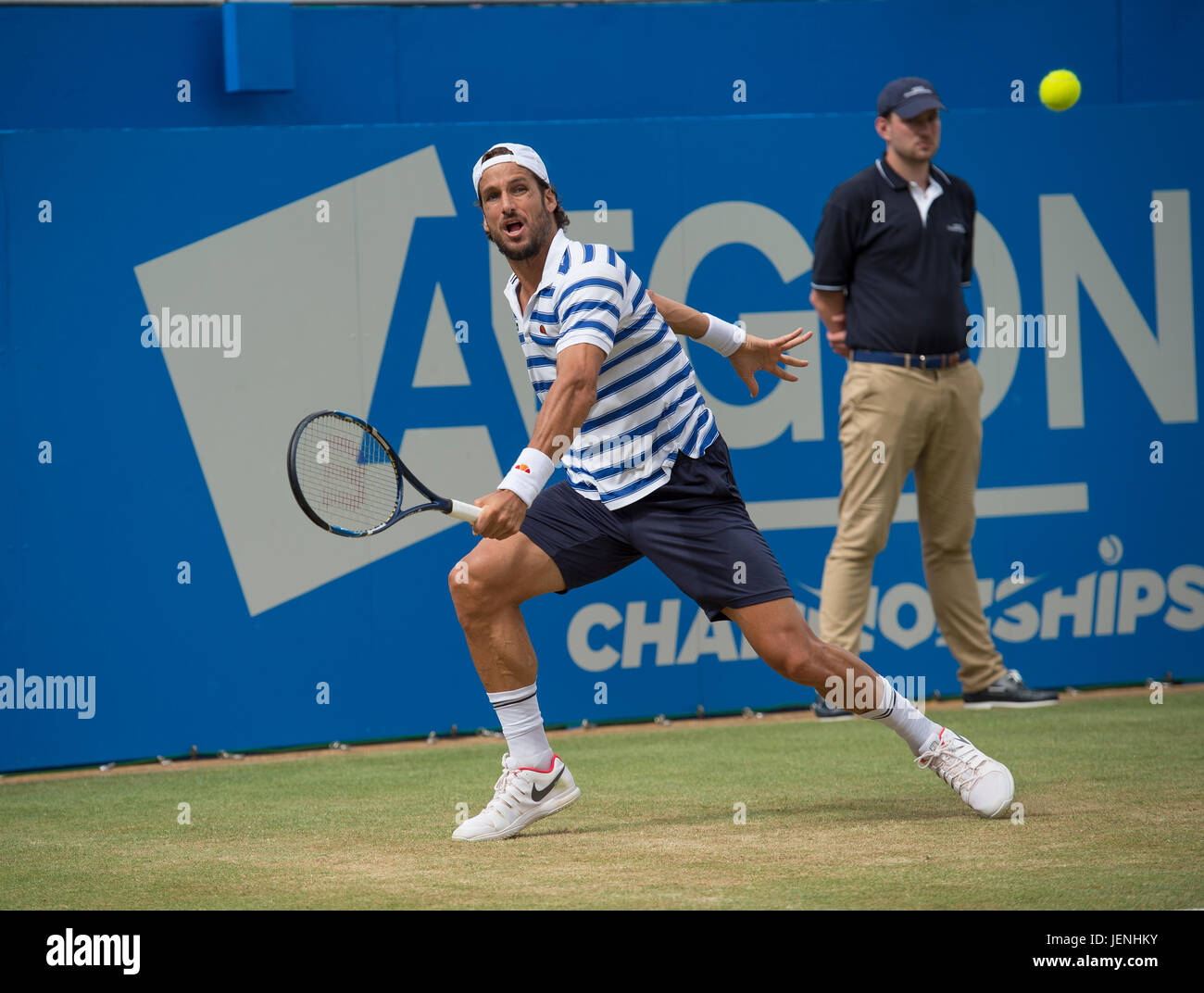 25th June 2017. Mens singles finals match at the 2017 Aegon Championships, The Queen's Club, London - Stock Image