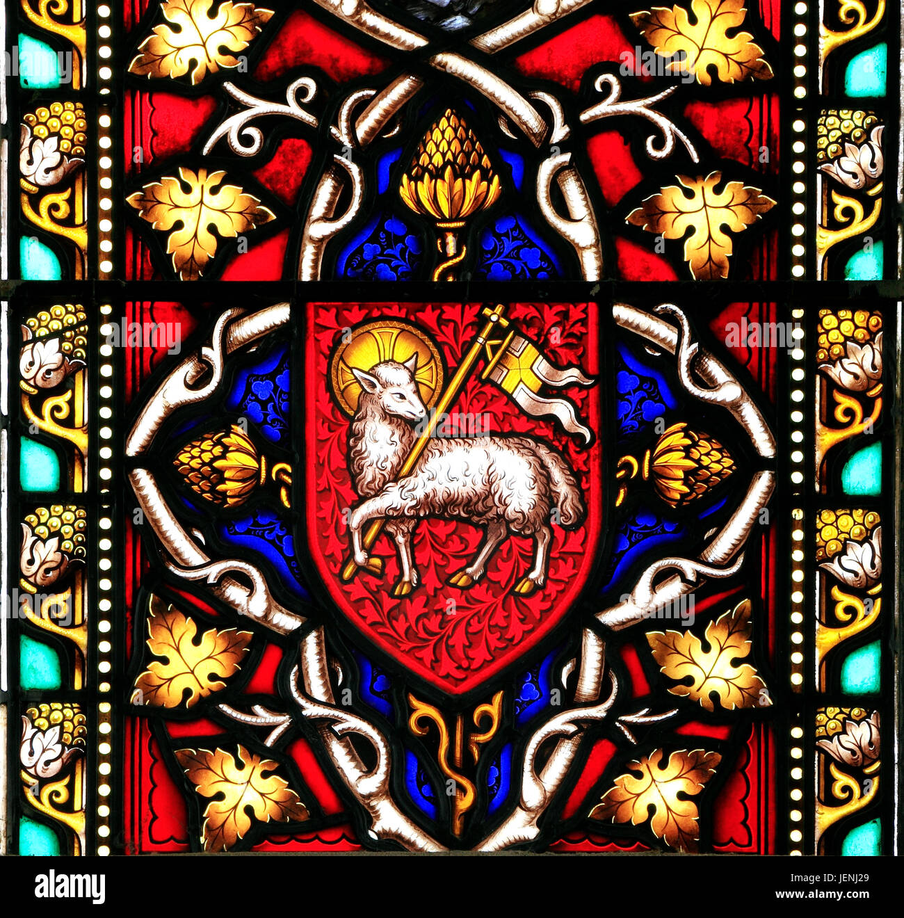 Lamb and Flag symbol, motif, Agnus Dei, Lamb of God, stained glass window by William Warrington, 1856, Field Dalling, - Stock Image