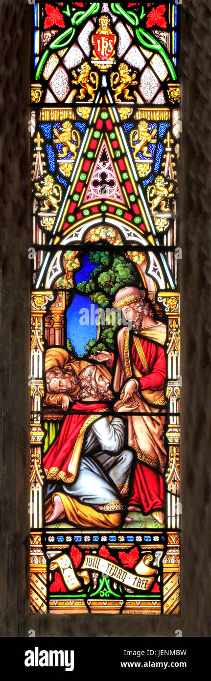 Parable of the Good Samaritan, Samaritan pays innkeeper, 'I wiil repay thee', stained glass window, by William - Stock Image