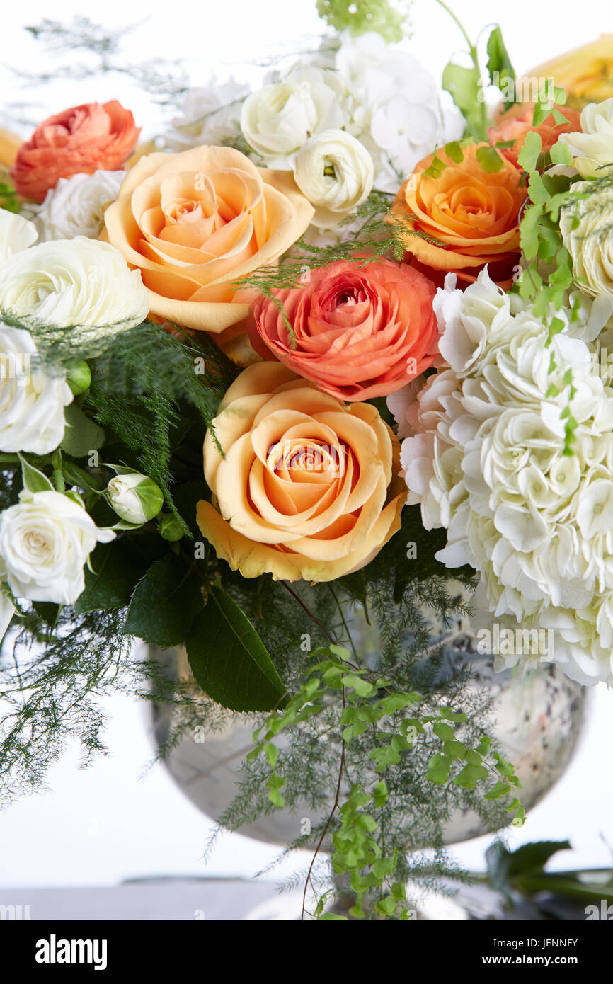Wedding Bouquet With White And Light Orange Flowers Centerpeice