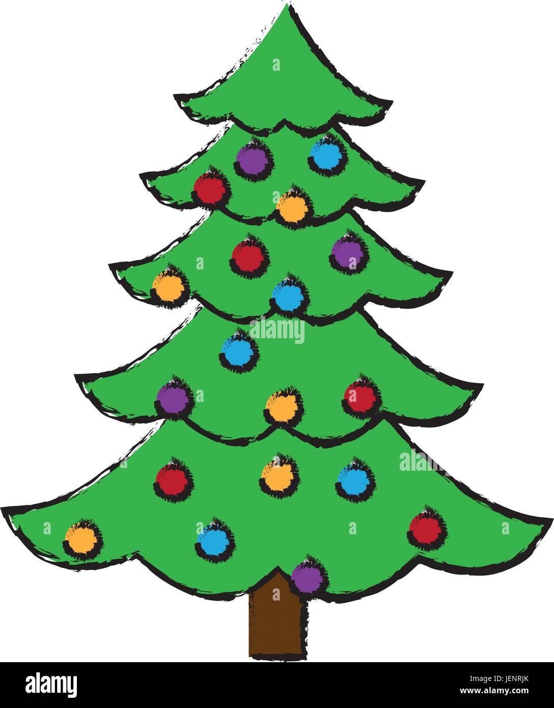 Christmas Tree Balls Decorations.Christmas Tree Balls Decorations Festive Plant Stock Vector