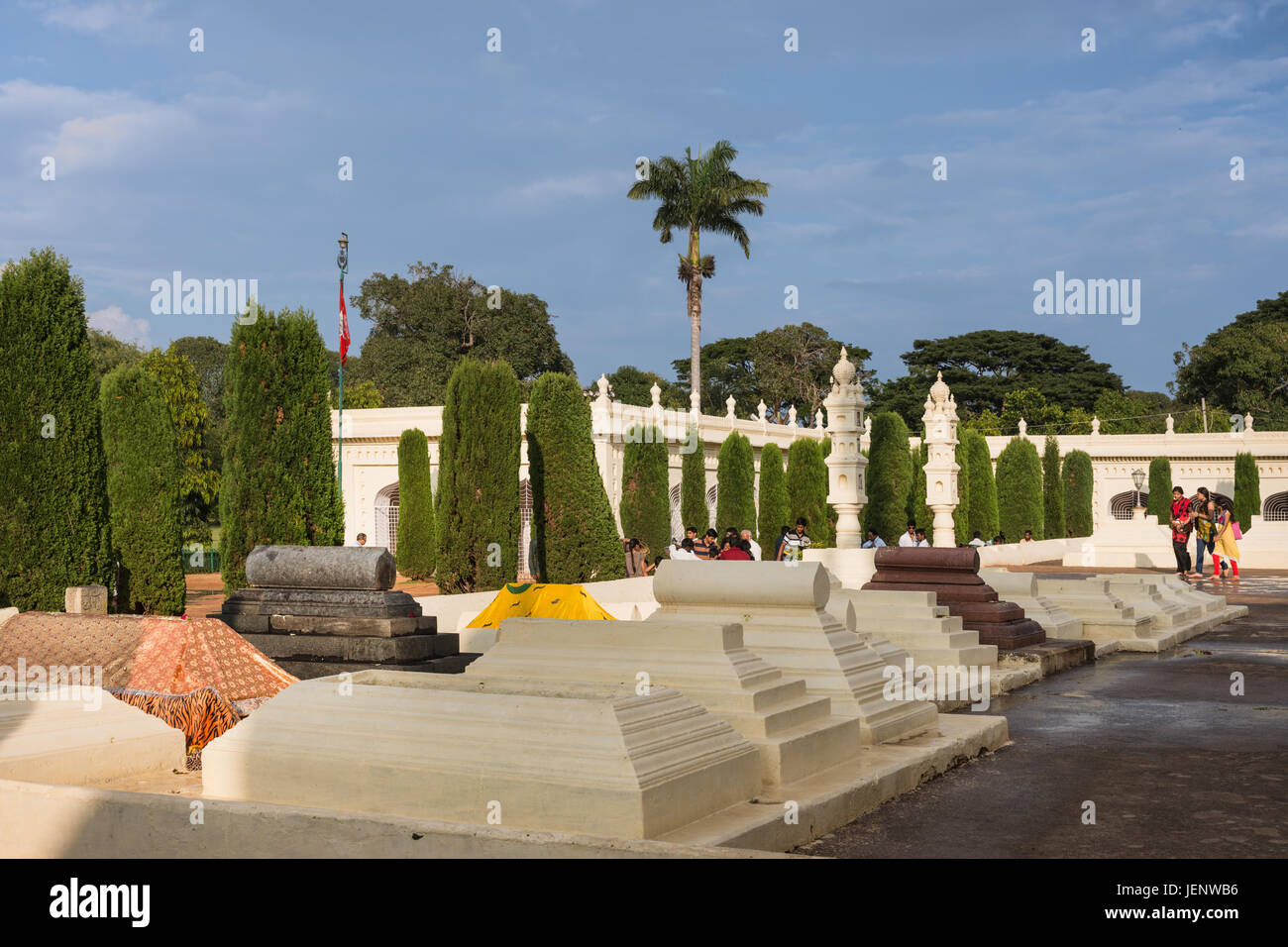 Mysore, India - October 26, 2013: Cemetery with classic Muslim tombs of Generals and Administration top dogs at - Stock Image