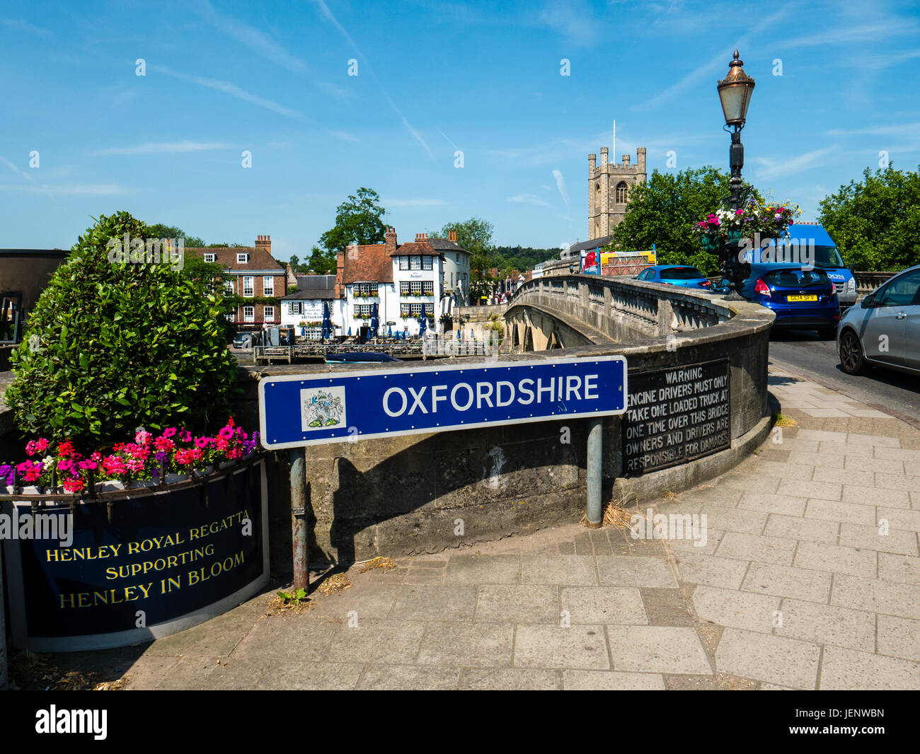 Oxfordshire Sign, Henley Bridge, Henley-on-Thames, Oxfordshire, England - Stock Image