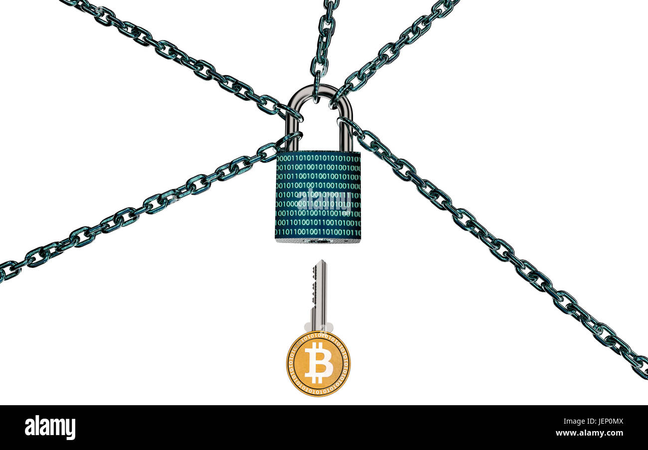 malware or ransomware attack concept padlock with money, clipping path, 3d illustration - Stock Image