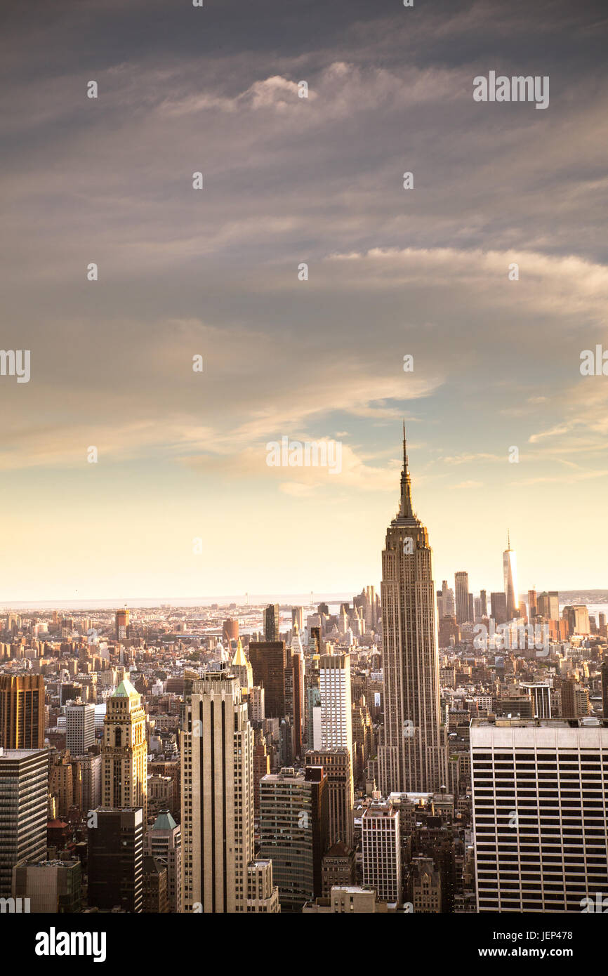 View of New York City skyline seen from midtown Manhattan looking downtown. This image has vintage tone filter. - Stock Image