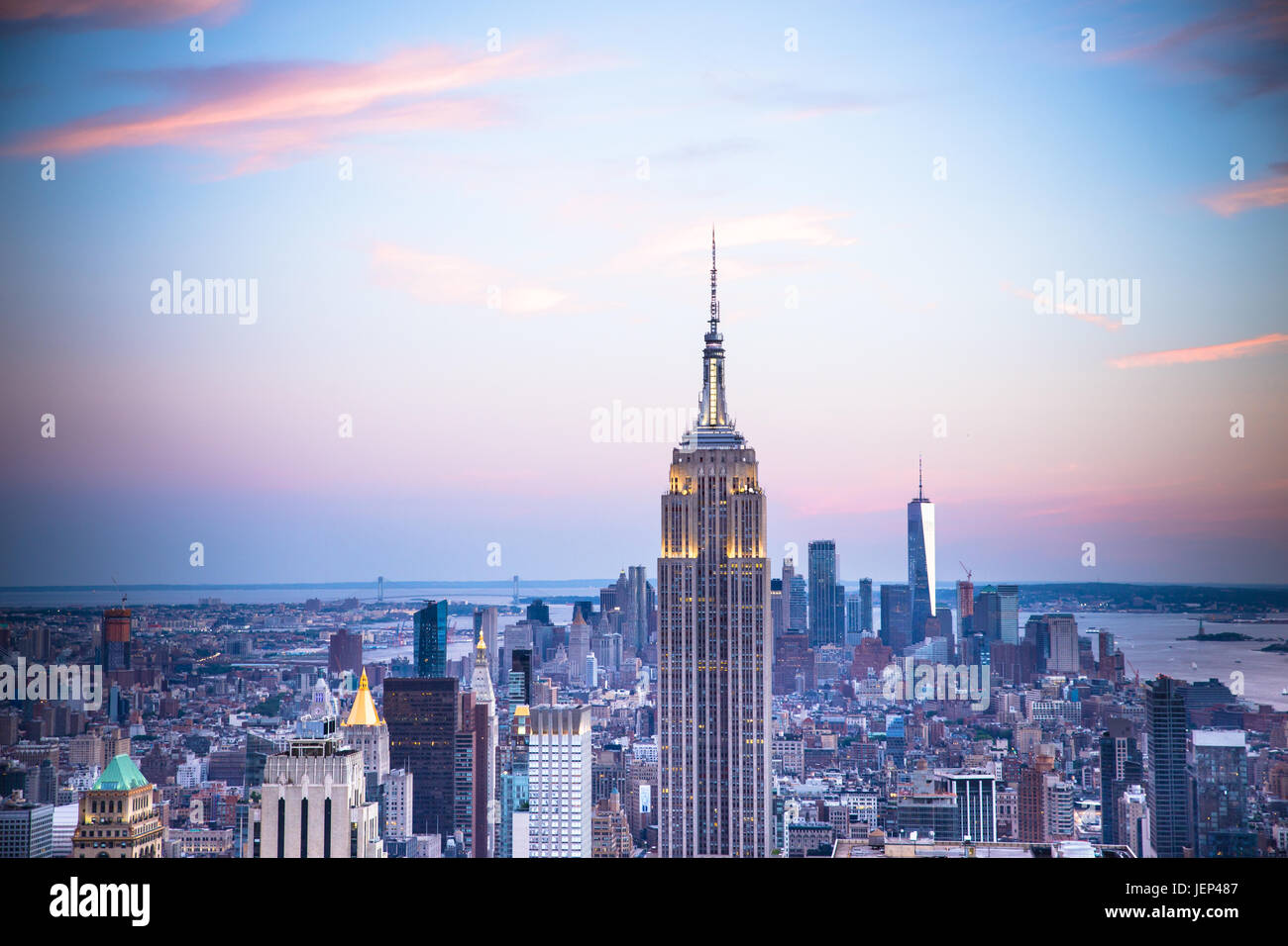 Sunset view of New York City seen from midtown Manhattan looking towards downtown, - Stock Image