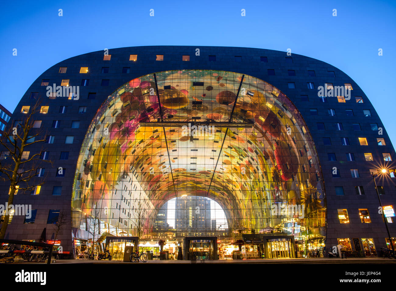 Exterior Night View Of The New And Colored Market Hall (Markthal In Dutch),  Located In The Blaak District In Rotterdam,