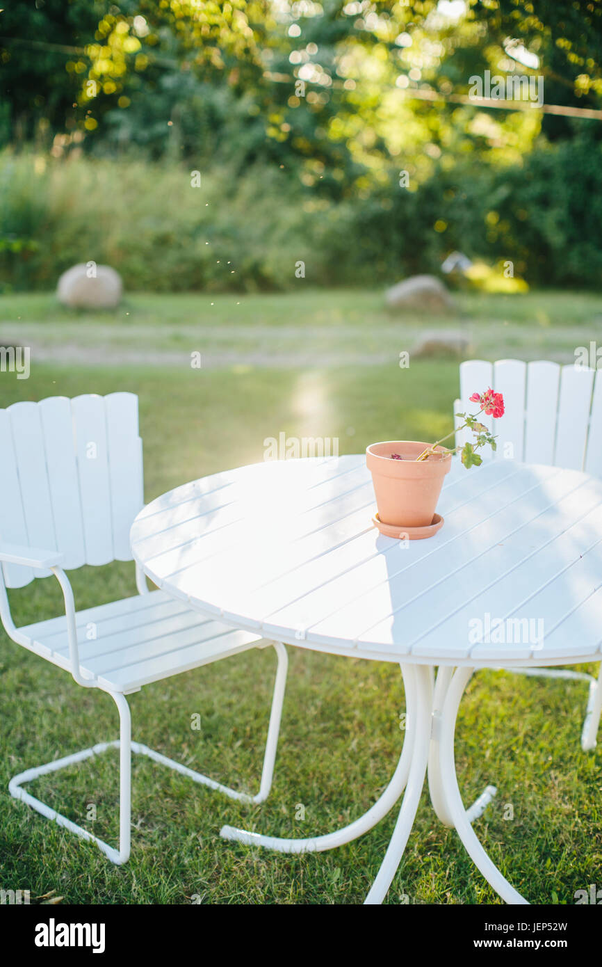Outdoor chairs in garden - Stock Image