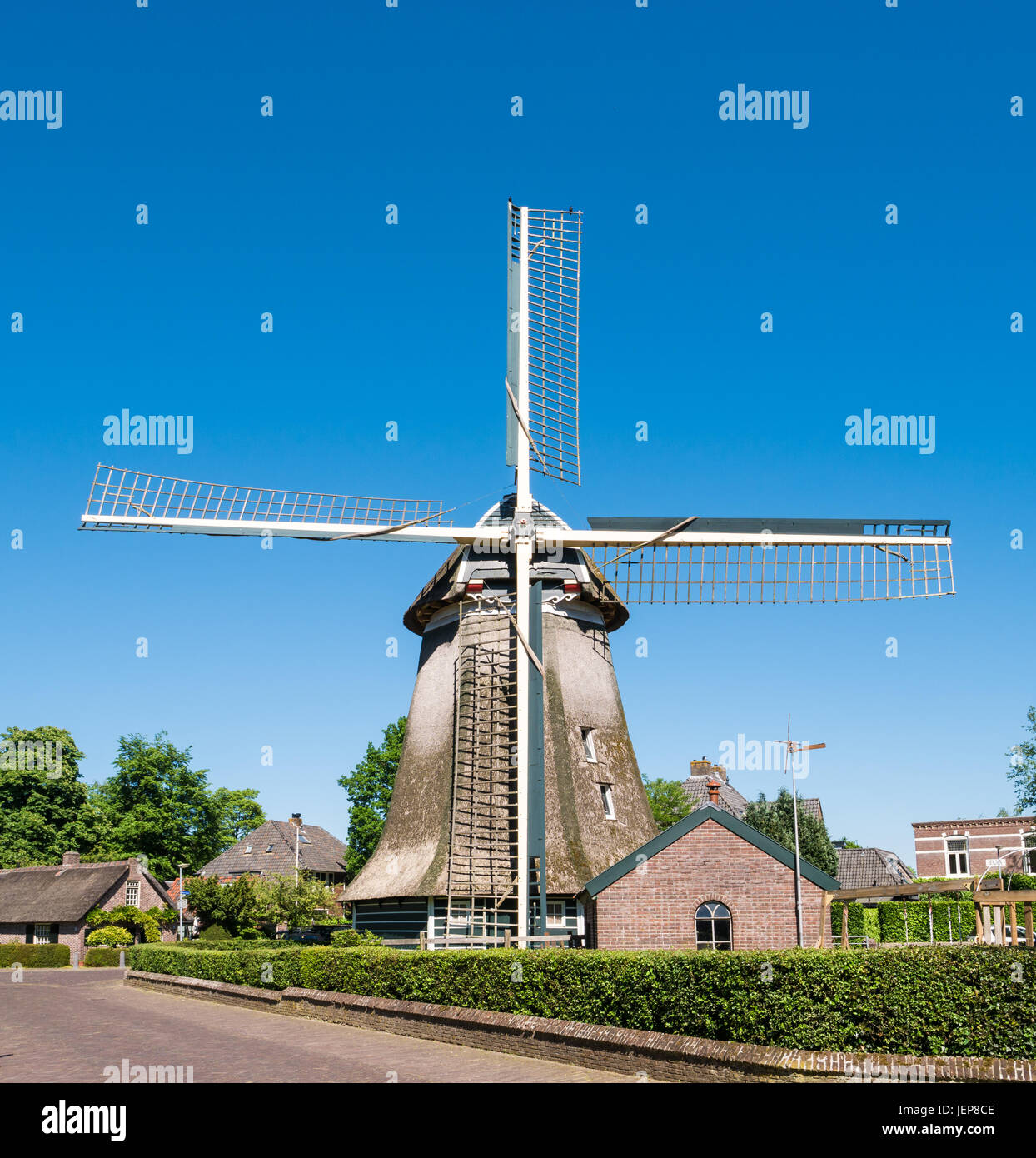 Historic windmill in old town of Laren, het Gooi, North Holland, Netherlands - Stock Image