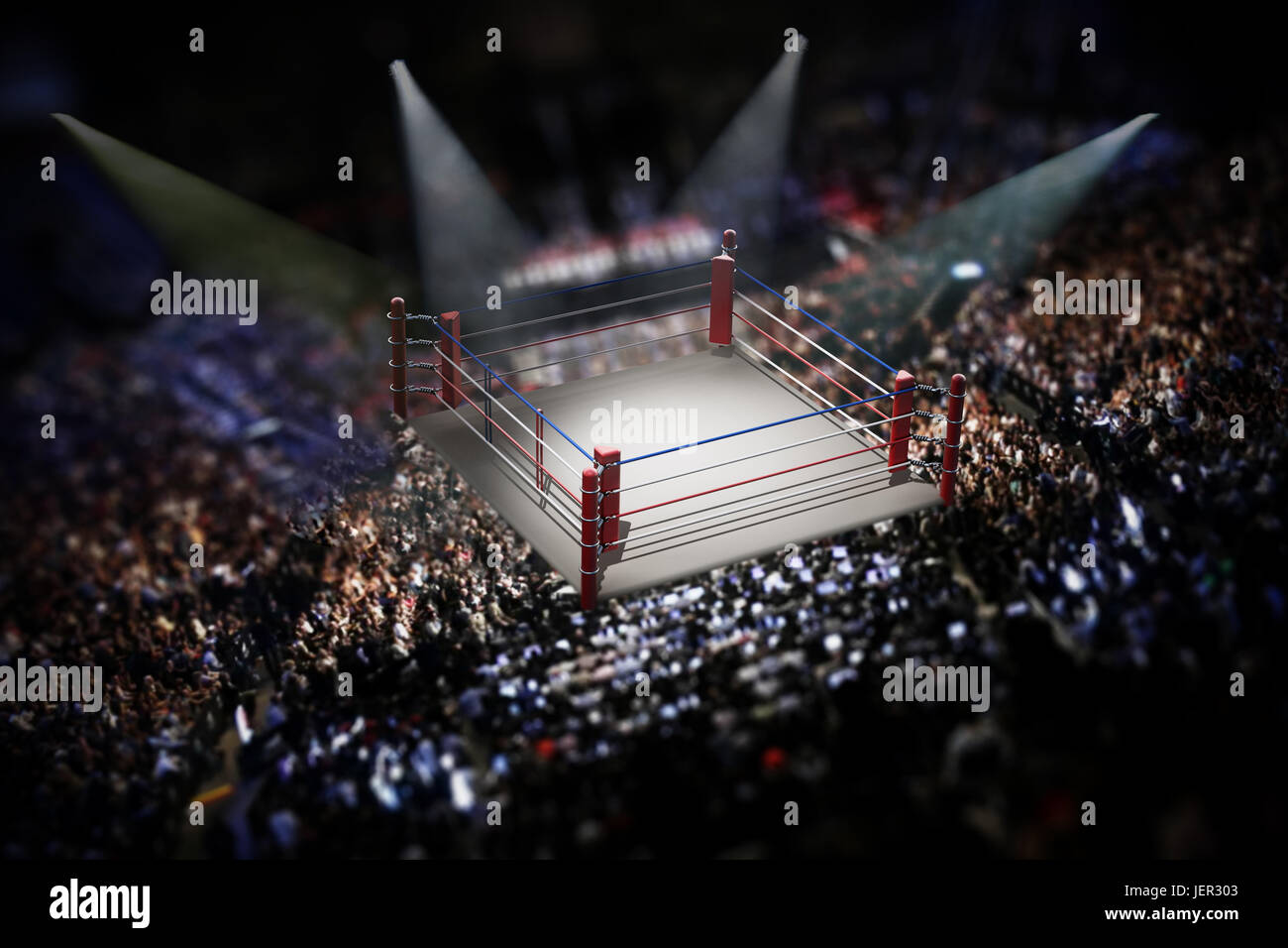 Empty boxing ring surrounded with spectators. 3D illustration. - Stock Image