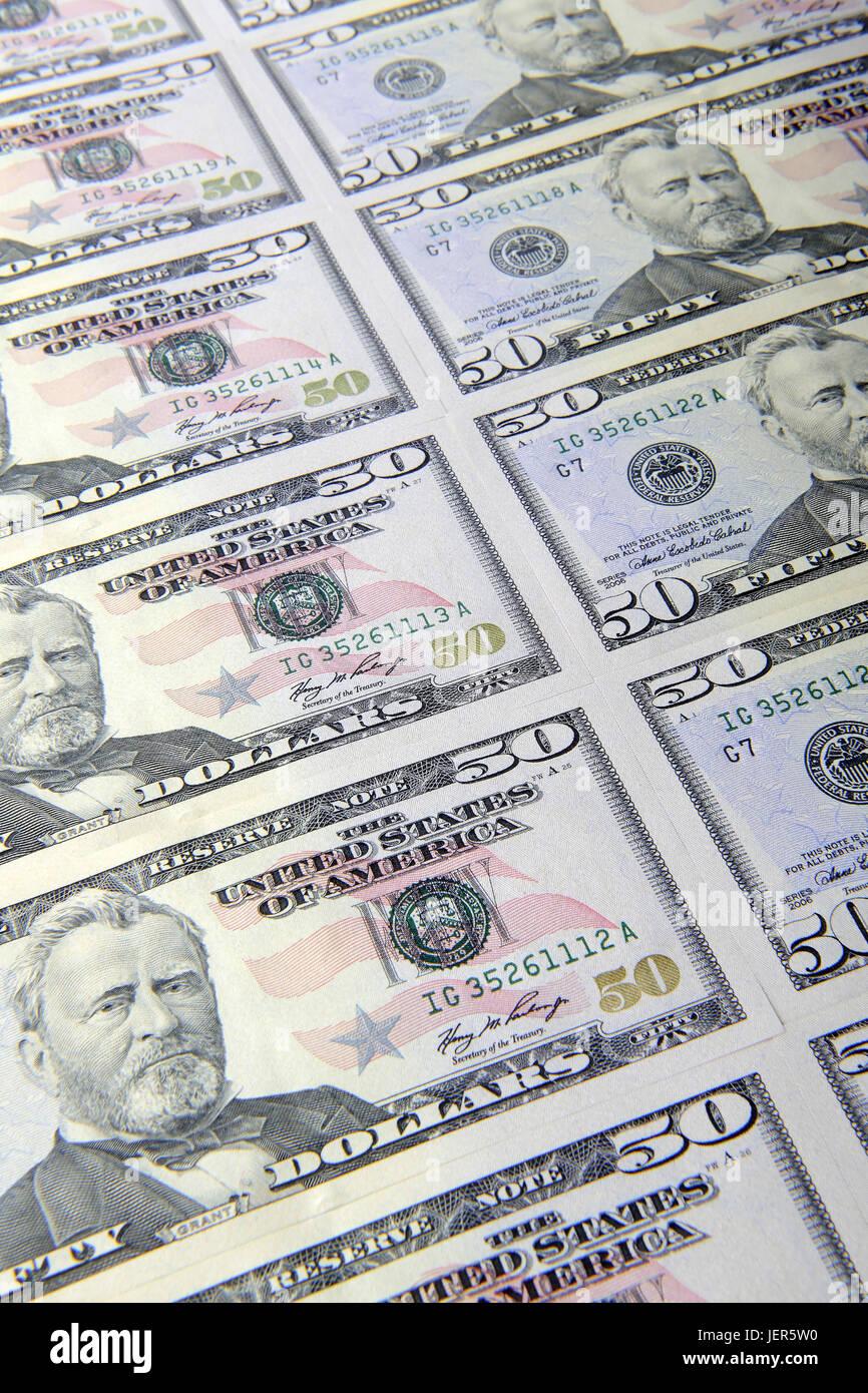 Several 50 dollar notes, Mehrere 50 Dollarscheine - Stock Image