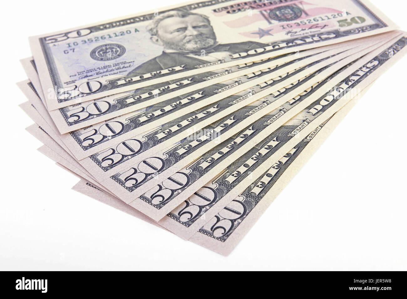 Several 50 dollar notes, fields, fanned out, Mehrere 50 Dollarscheine , Fächer, aufgefächert - Stock Image