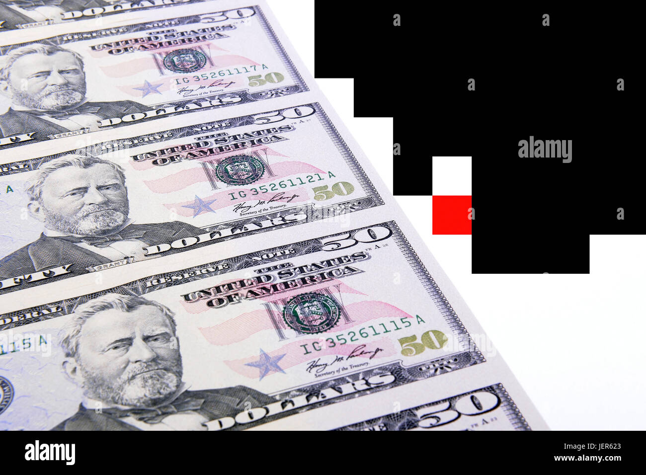 Several 50 dollar notes, Mehrere 50 Dollarscheine Stock Photo