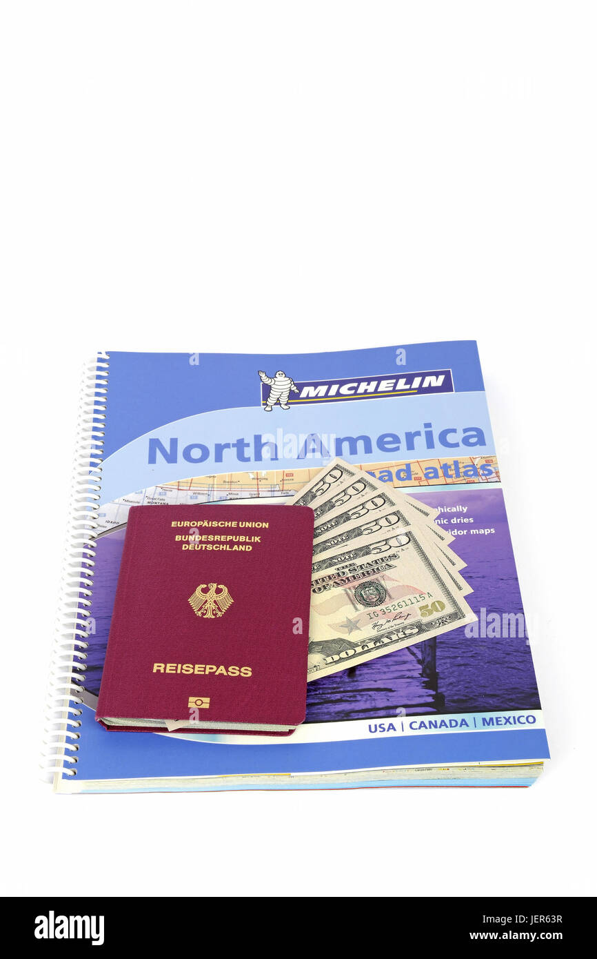Guide the USA, southwest, passport the Federal Republic of Germany, several 50 dollar notes, street atlas North - Stock Image