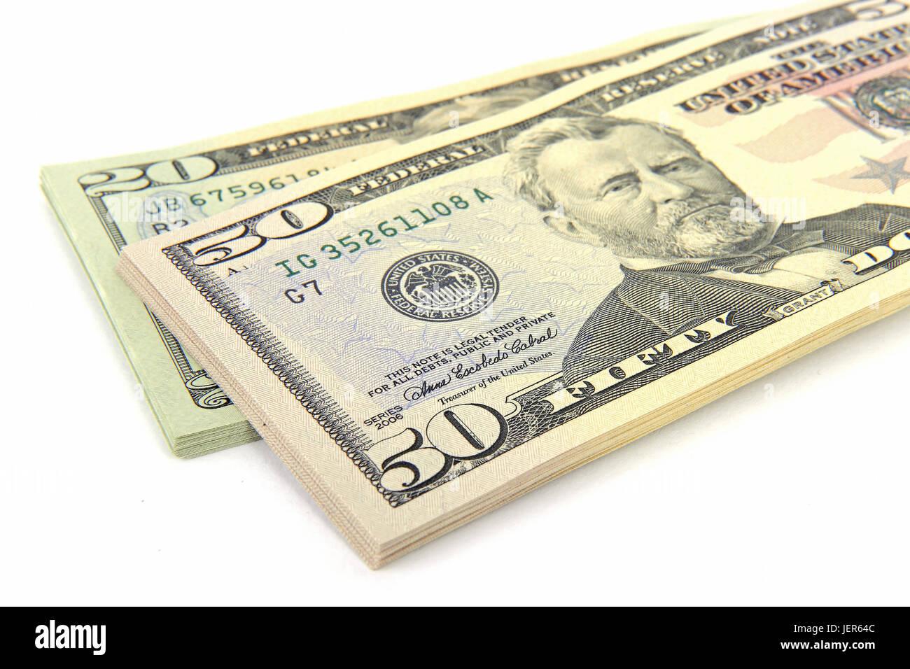 a pile 50 and 20 dollar notes, ein Stapel 50 und 20 Dollarscheine - Stock Image