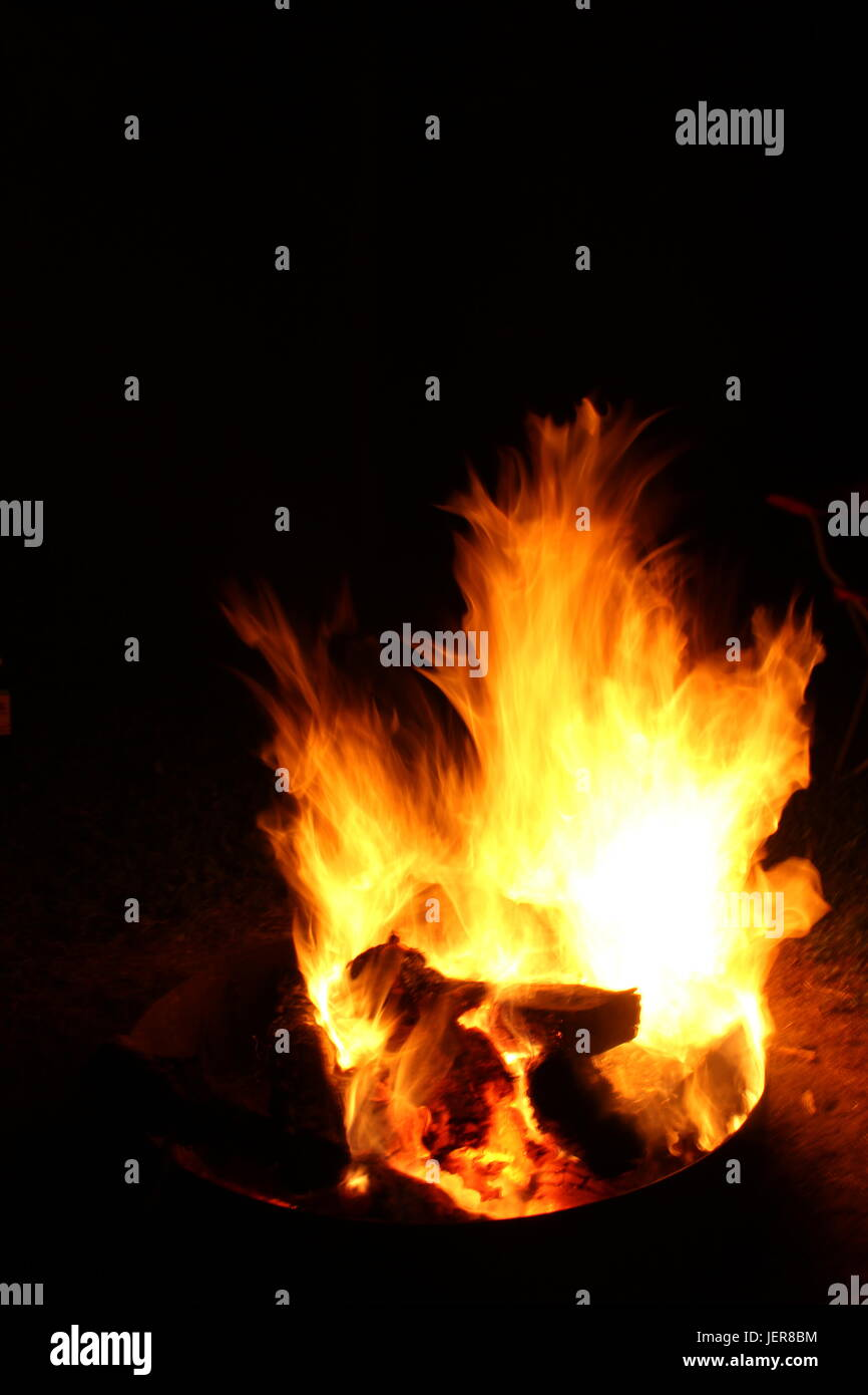 Massive fire with hot flames. Stock Photo