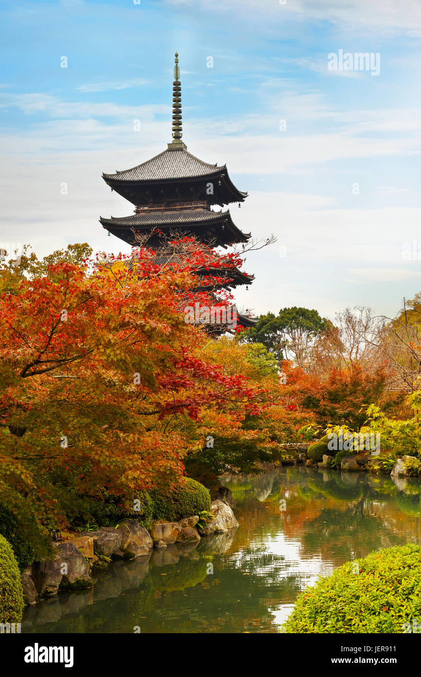 Colorful Autumn at Toji Temple in Kyoto, Japan - Stock Image
