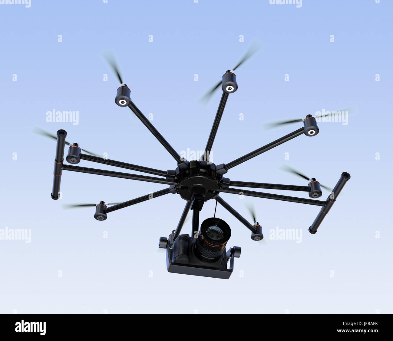 Octocopter flying in the sky. 3D rendering image - Stock Image