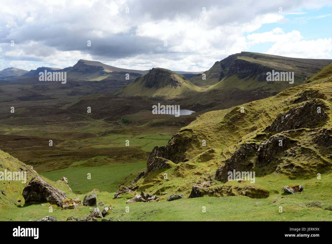 View over the mystical landscape of the Quiraing mountains Isle of Skye Trotternish Inner Hebrides Scotland UK GB - Stock Image
