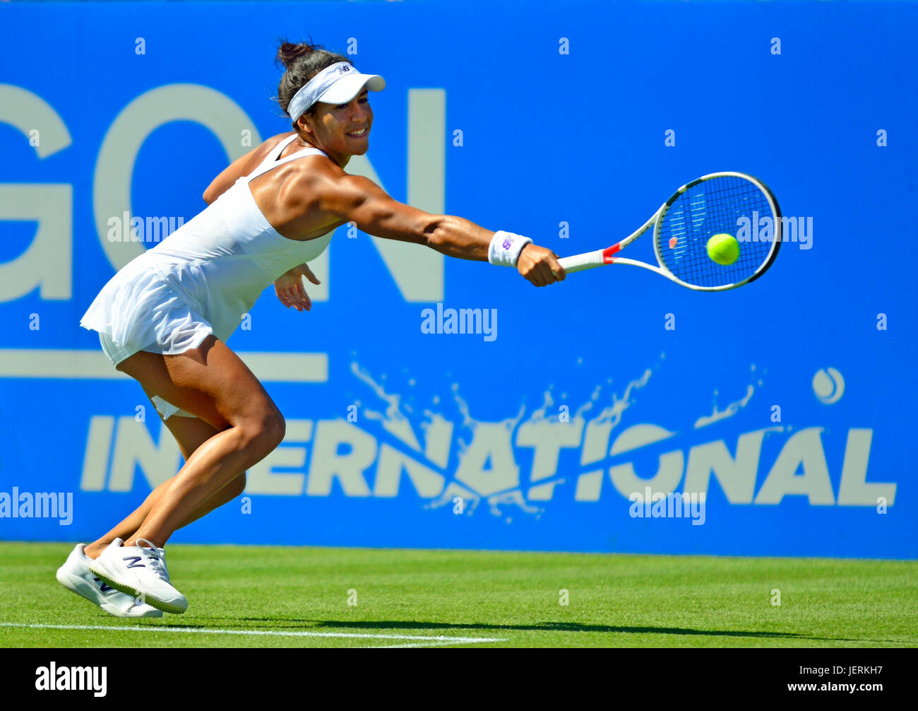 Heather Watson (GB) playing a backhand on centre court, Eastbourne. 26th June 2017 - Stock Image