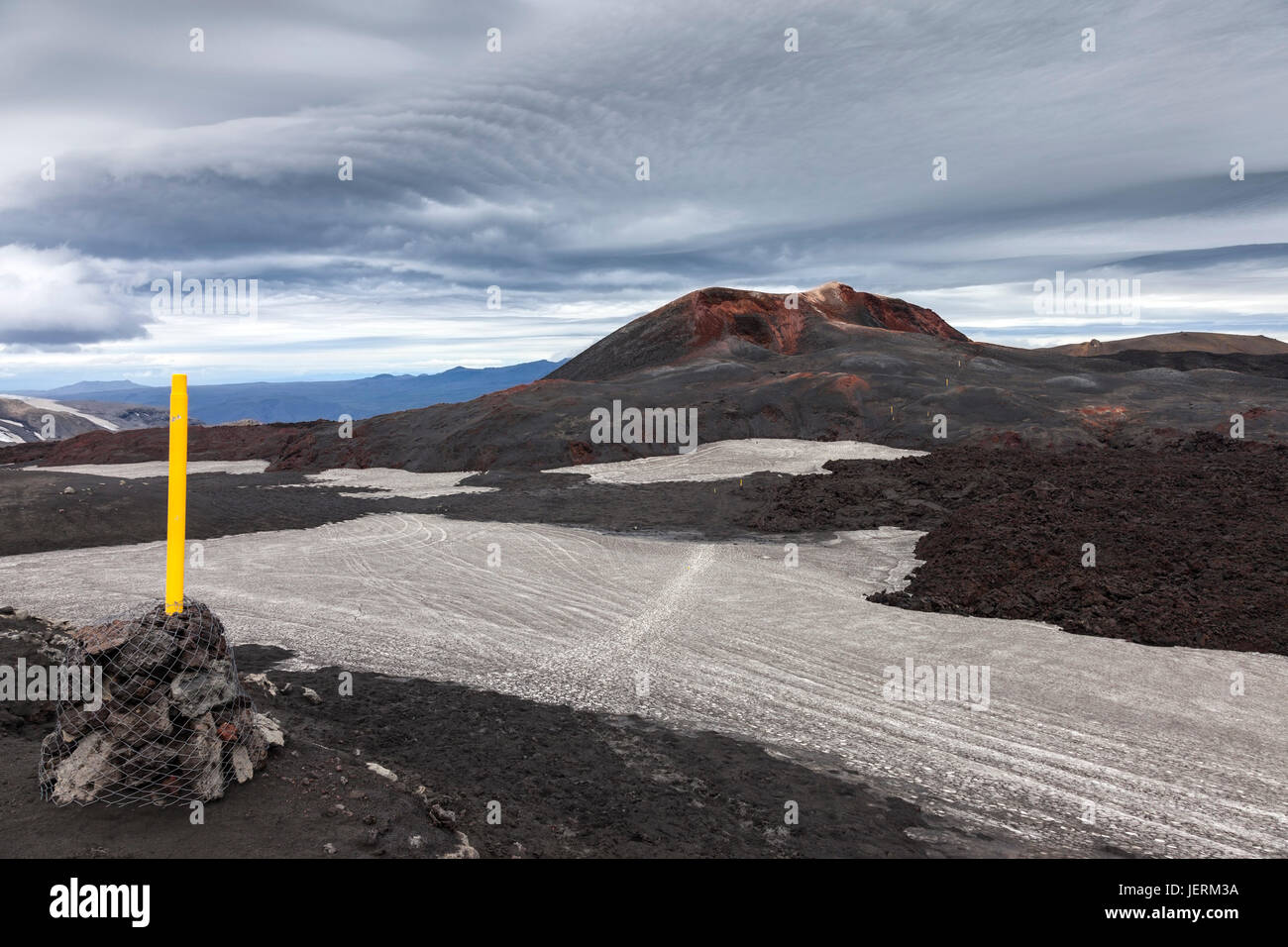 Yellow Trail Markers at the Initial Eruption Site of the Eyjafjallajokull Volcano in the Fimmvorouhals Pass with - Stock Image